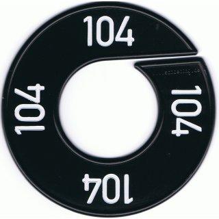 Grössenscheibe schwarz mit weißer Prägung Gr. 104