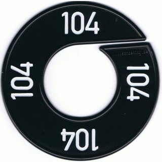 Grössenscheibe schwarz mit weißer Prägung Gr. 140