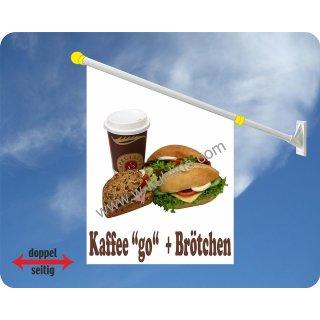 Flagge Kaffee to go + Brötchen