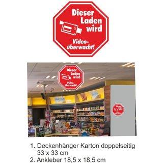 """Großer Aufkleber""""Dieser Laden wird videoüberwacht"""" - Für mehr Sicherheit und Schutz - selbstklebend - Warnhinweis 18,5 x 18,5 cm"""