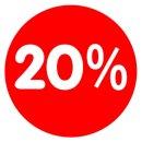 Rabatt-Ankleber 20% 32 cm Durchmesser