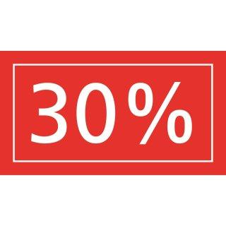 """Ankleber """"30%"""" rot-transparent 40 x 22 cm"""