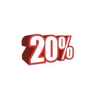 """Ankleber """"3D-20%"""""""