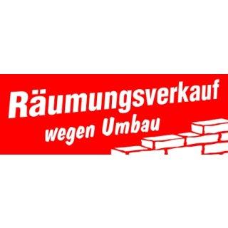 """Aufkleber """"Räumungsverkauf wegen Umbau"""""""