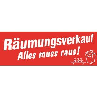 """Aufkleber """"Räumungsverkauf–Alles muss Raus"""""""