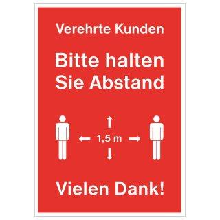 """Rahmenplakat DIN A1 """"Verehrte Kunden - Bitte halten Sie Abstand"""""""