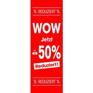 """Langbahn """"WOW / Bis zu - 50% reduziert"""" mit Klemmschienen"""