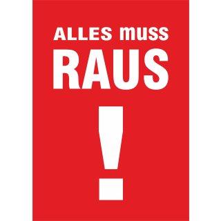 """Rahmenplakat DIN A1 """"Alles muss Raus!"""""""