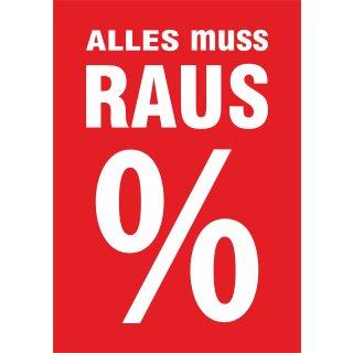 """Rahmenplakat DIN A1 """"Alles muss Raus%"""""""