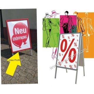 Straßenständer DIN A1 wetterfest - Kundenstopper rot für Poster und Plakate mit Metallrückwand