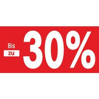 """Papierstreifen """"Bis zu -30%"""""""