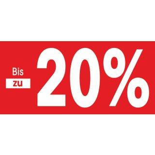"""Papierstreifen """"Bis zu 20% reduziert"""""""