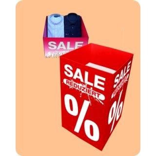 """Verkaufsschütte """"Sale Reduziert %"""" ca. 50 x 50 x 85 cm, eckige Form"""