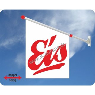 Flagge Eis roter Text