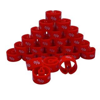 Tex-Clip® rot mit weißer Prägung Prozentzeichen - VE25