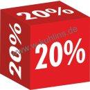 """Würfel """"20%"""" 22 x 22 x 22 cm"""