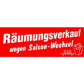"""Ankleber """"Räumungsverkauf wegen Saison-Wechsel"""""""