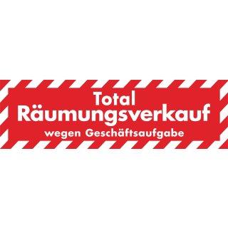 """Ankleber """"Total Räumungsverkauf - wegen Geschäftsaufgabe"""" 138 x 42 cm"""